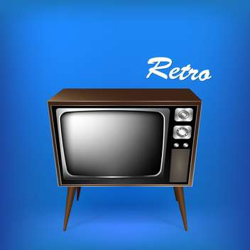 vector illustration of retro tv on blue background - vector gratuit #127628