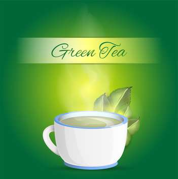 Cup of green tea with text place on green background - vector gratuit #127658