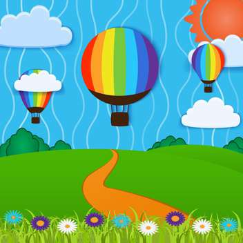 Vector illustration of hot air balloons in sky - Free vector #127688