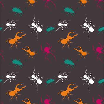 Seamless bugs colorful pattern on dark background - Free vector #127698