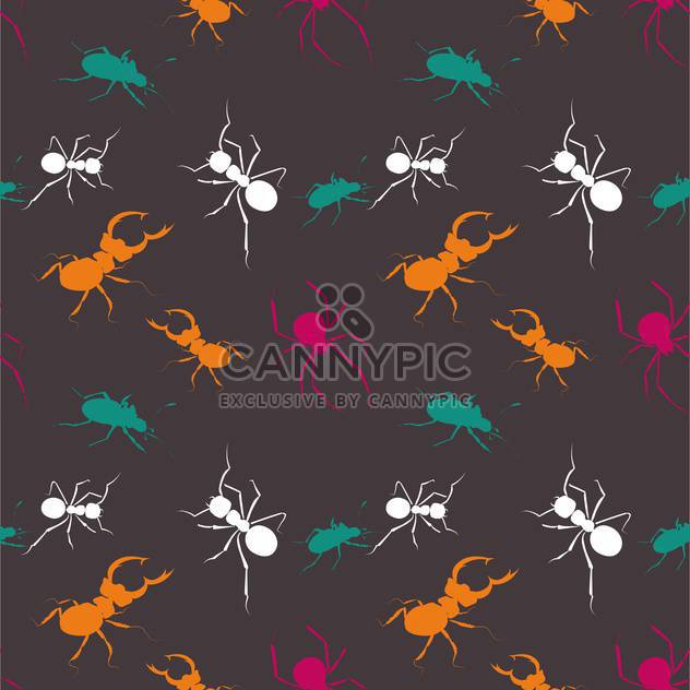 Seamless bugs colorful pattern on dark background - Kostenloses vector #127698