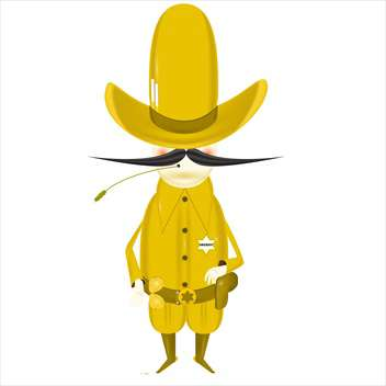 colorful illustration of yellow cartoon sheriff on white background - vector gratuit #127708