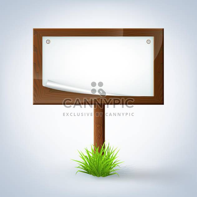 wooden sign in green grass on white background - Free vector #127748
