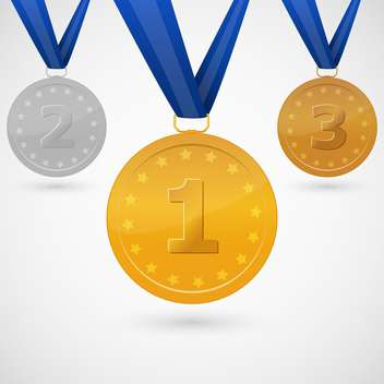 winners medals with blue ribbons on white background - vector gratuit #127778