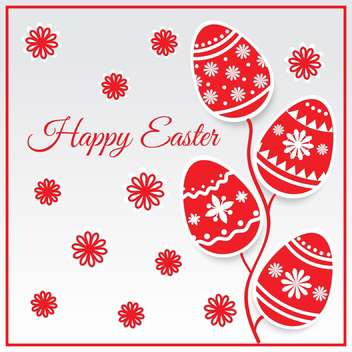 easter eggs card in red color for holiday background - Free vector #127818