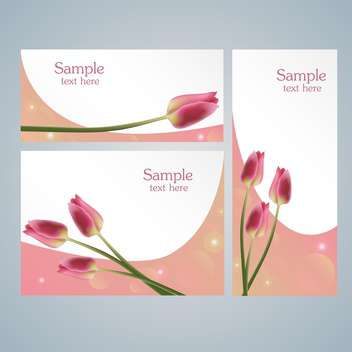 Brochure template cards with pink tulips on grey background - vector gratuit #127858