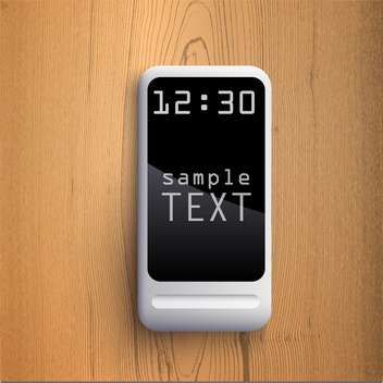 vector illustration of black display with text place on wooden background - vector gratuit #127888