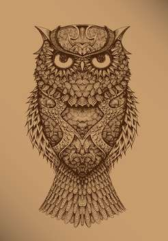 vector illustration of drawing owl on brown background - vector #127968 gratis