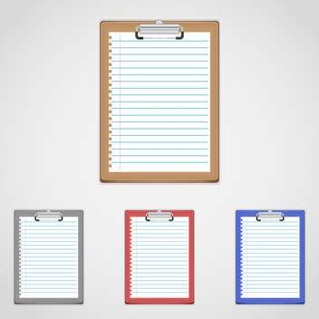 vector set of colorful clipboards with text place on white background - vector gratuit #128048