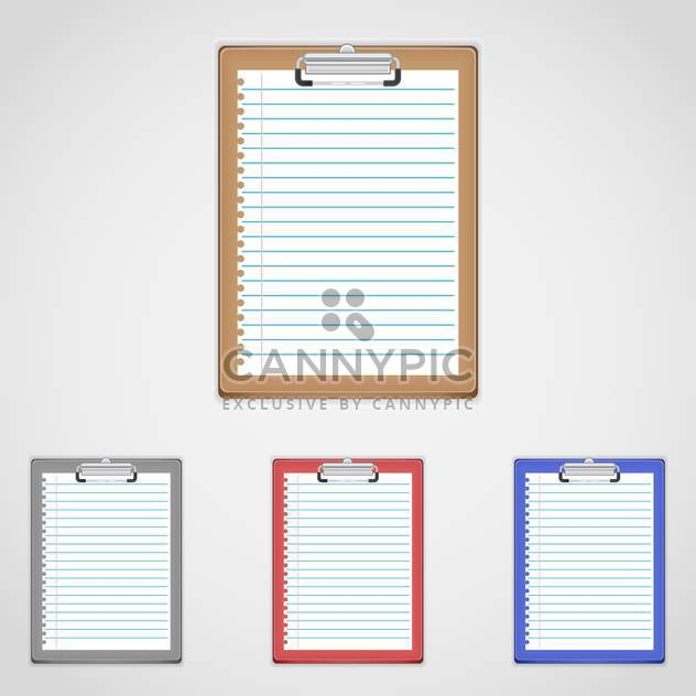 vector set of colorful clipboards with text place on white background - Free vector #128048