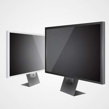 Two lcd televisions on grey background - vector #128078 gratis
