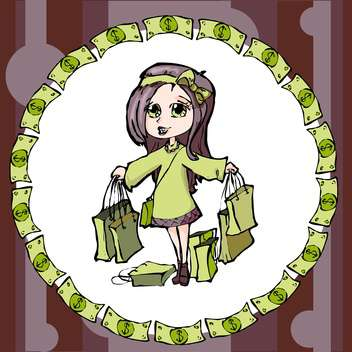 colorful illustration of shopping girl - vector gratuit #128118