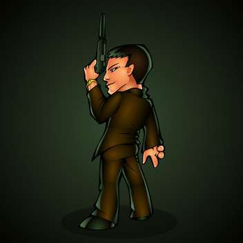 Killer with a gun, vector illustration. - vector gratuit #128138