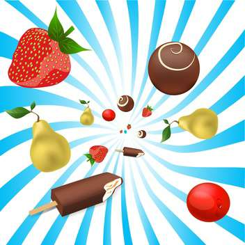 mix of fruits and ice-cream, vector illustration - vector gratuit #128208