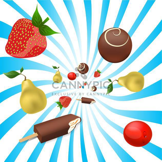 mix of fruits and ice-cream, vector illustration - Free vector #128208