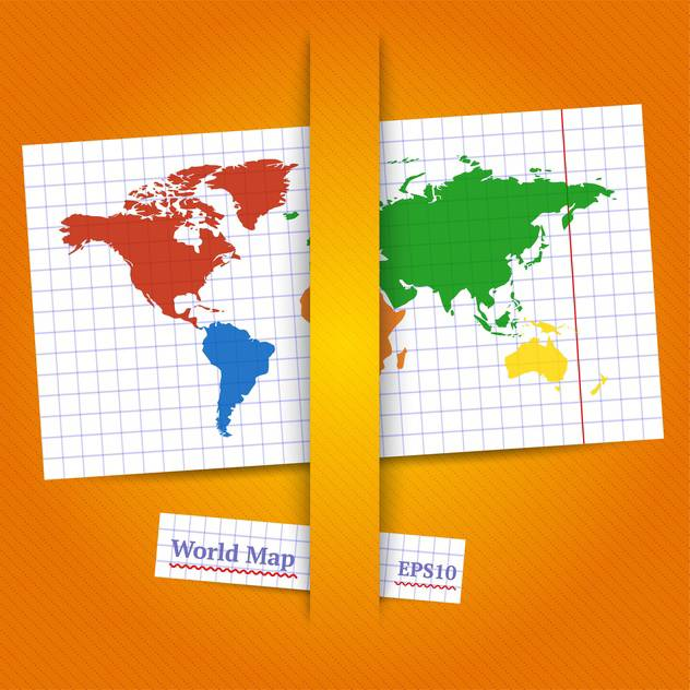 Colorful vector World map on page - vector #128218 gratis