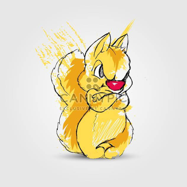 Angry yellow squirrel, vector illustration - Free vector #128248