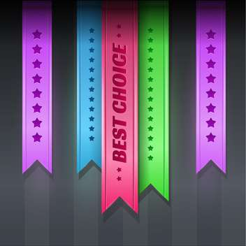 Set with multicolored vector ribbons with stars - vector gratuit #128268