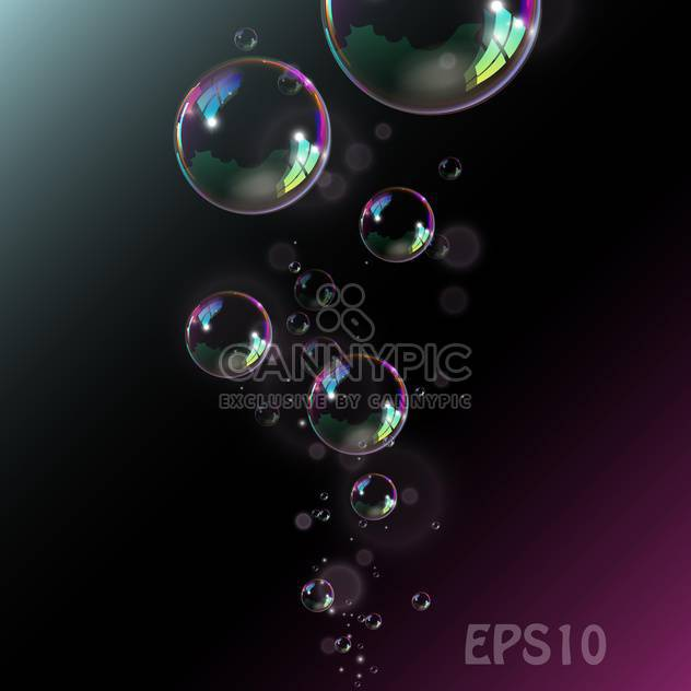 Soap bubbles illustration on black background - Free vector #128388