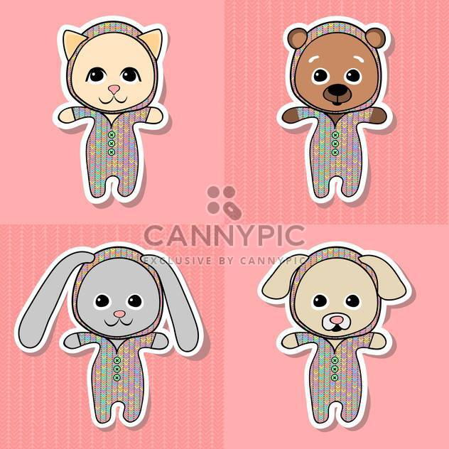 Cheerful cat, bear, pig, dog, puppy and the rabbit vector Illustration - Free vector #128418
