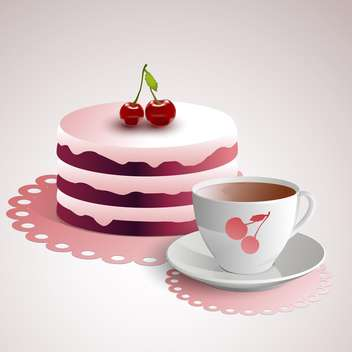 Vector illustration of cup of coffee with a cherry cake - vector gratuit #128448