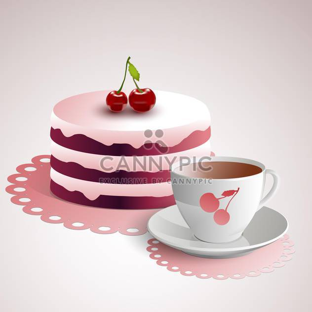 Vector illustration of cup of coffee with a cherry cake - Free vector #128448