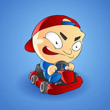 Vector illustration of a little boy go kart - vector gratuit #128468