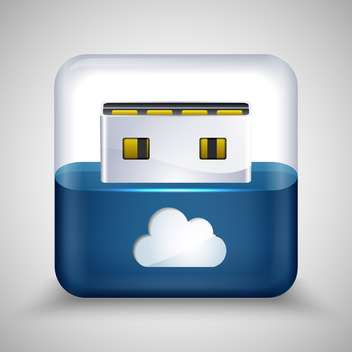 Vector illustration of USB flash drive with cloud. - Free vector #128528
