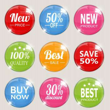 Vector set of colorful advertising stickers - Free vector #128558