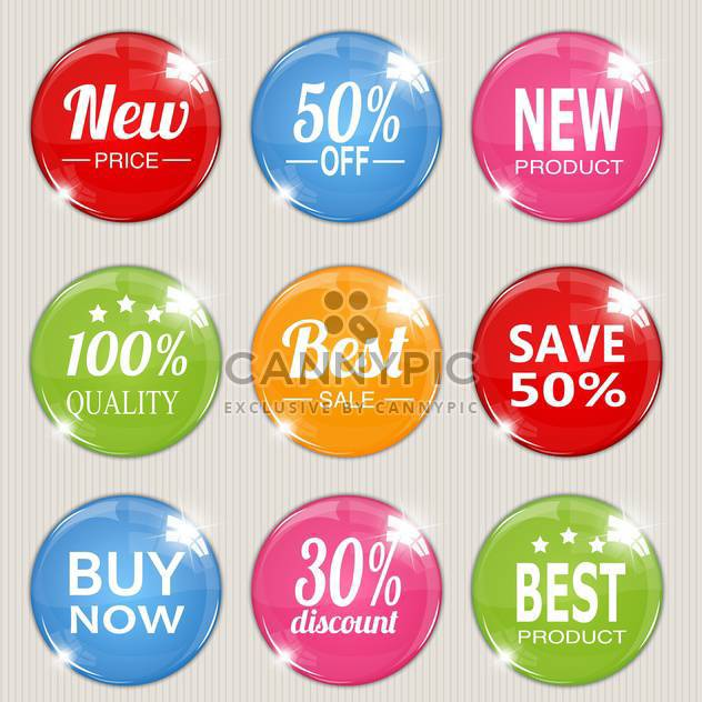 Vector set of colorful advertising stickers - Kostenloses vector #128558