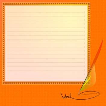 Vector illustration of note paper and feather - Free vector #128568
