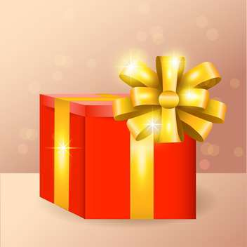 Vector illustration of red gift box with golden ribbon and bow - vector #128658 gratis