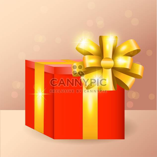Vector illustration of red gift box with golden ribbon and bow - Free vector #128658