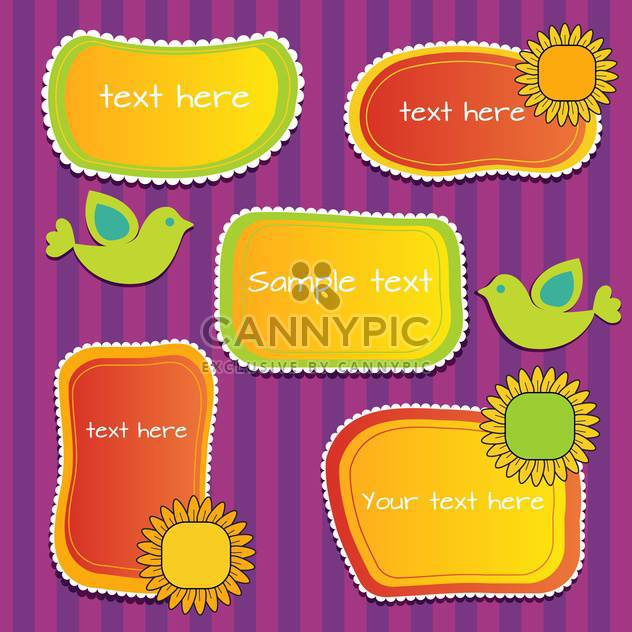 Vector set of sunny floral frames with birds - Free vector #128788