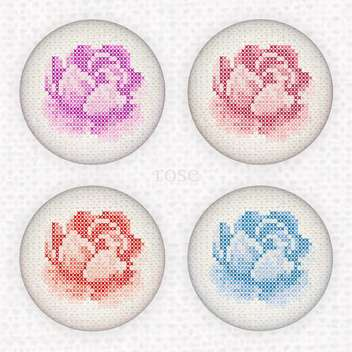 Vector set of buttons with cross-stitched embroidery roses - бесплатный vector #128798