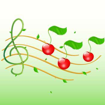 Summer music with cherries as notes - vector gratuit #128818