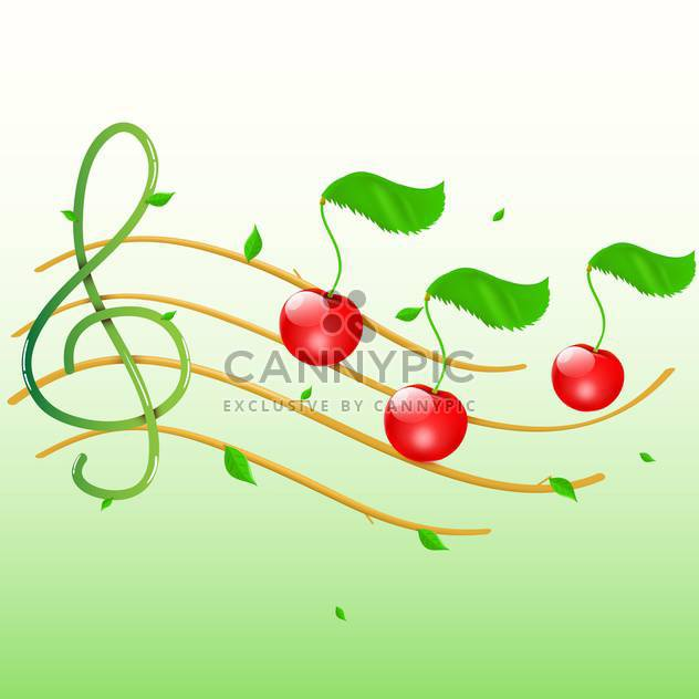 Summer music with cherries as notes - Kostenloses vector #128818