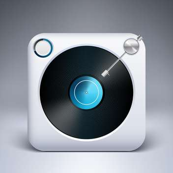 Vector icon of square turntable with vinyl - vector gratuit #128888