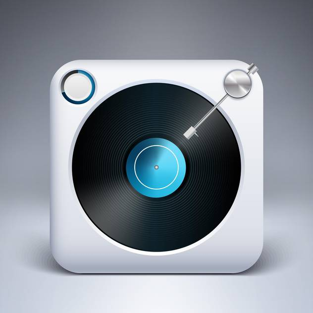 Vector icon of square turntable with vinyl - бесплатный vector #128888
