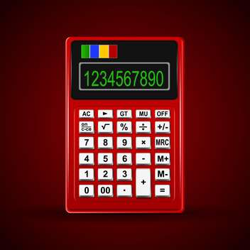 Vector illustration of red calculator with 10 digit display - vector #128898 gratis