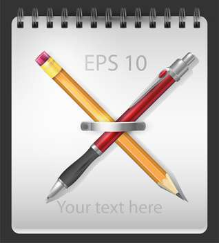 Vector illustration of notepad with crossed pen and pencil - vector #128918 gratis