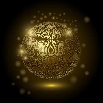 Decorative golden ball on black background - vector gratuit #128938