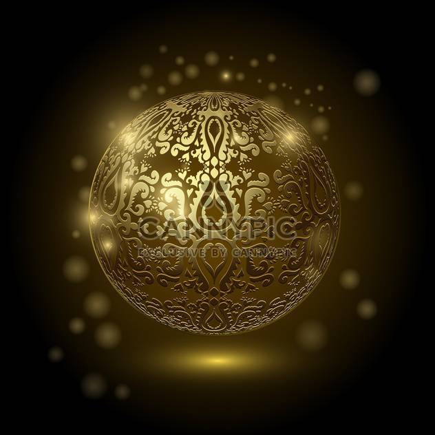Decorative golden ball on black background - Free vector #128938