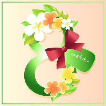 women's day greeting card with flowers - vector gratuit #128968