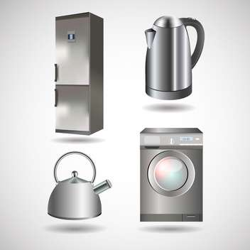 kettle, washing machine, refrigerator appliances - vector gratuit #128978