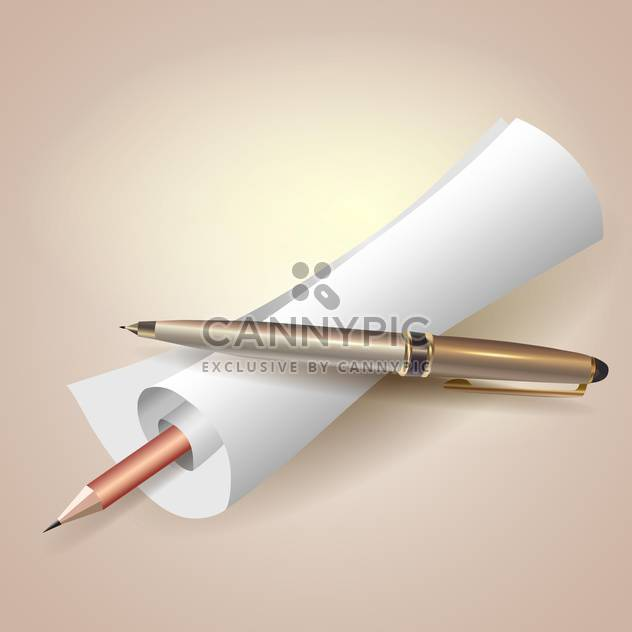 paper scroll with pen and pencil - Free vector #129088