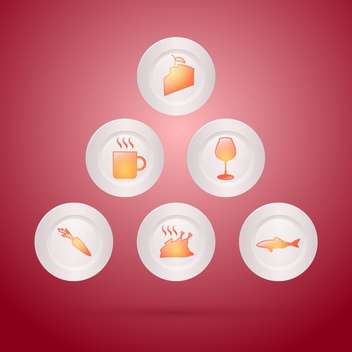 Vector food icons set on red background - бесплатный vector #129188