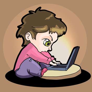 vector cartoon boy with laptop - vector gratuit #129198