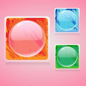 Vector set of colorful square buttons with circles on pink background - vector #129298 gratis