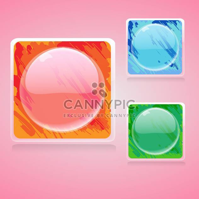 Vector set of colorful square buttons with circles on pink background - Free vector #129298
